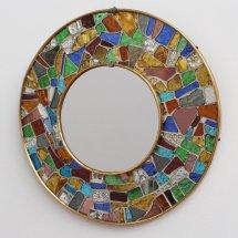 Spanish Brass Mosaic Mirror 1960s Pamono