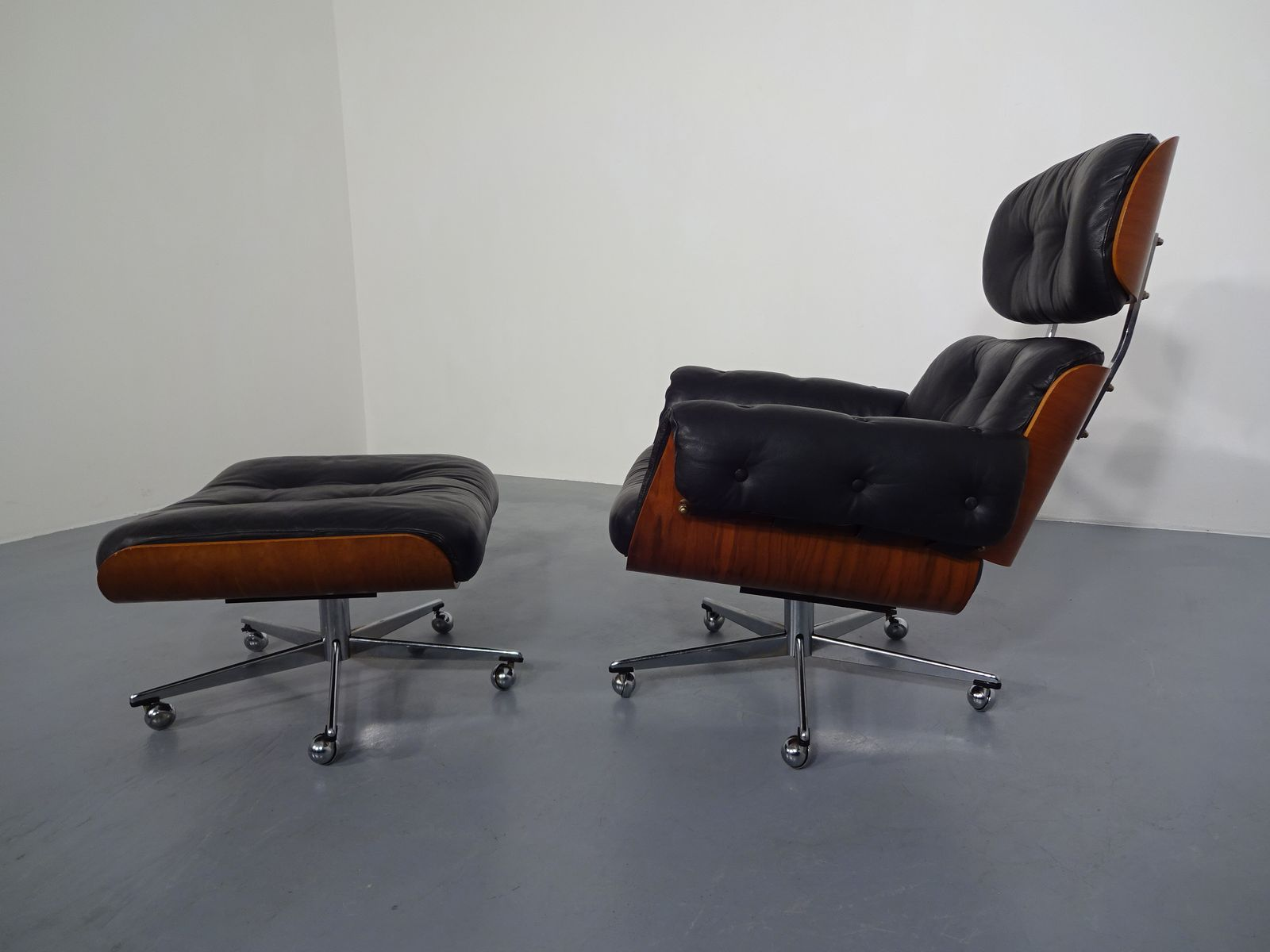 Leather Chair And Ottoman Swiss Wood And Leather Chair Ottoman Set By Martin Stoll For Stoll Giroflex 1960s