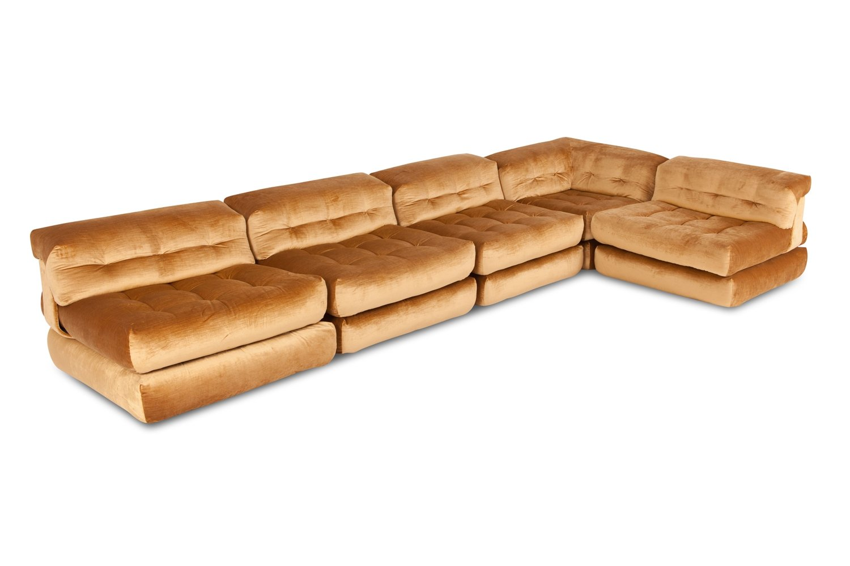 roche bobois mah jong modular sofa preis arm set modulares vintage mit goldenem samtbezug von