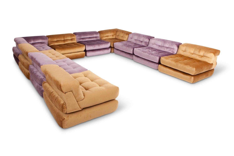 roche bobois mah jong modular sofa preis leather natuzzi modulares vintage mit goldenem samtbezug von