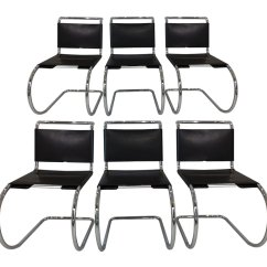 Leather Chrome Chair Best Chairs Geneva Glider White By Mies Van Der Rohe For Knoll International 1970s Set Of 6