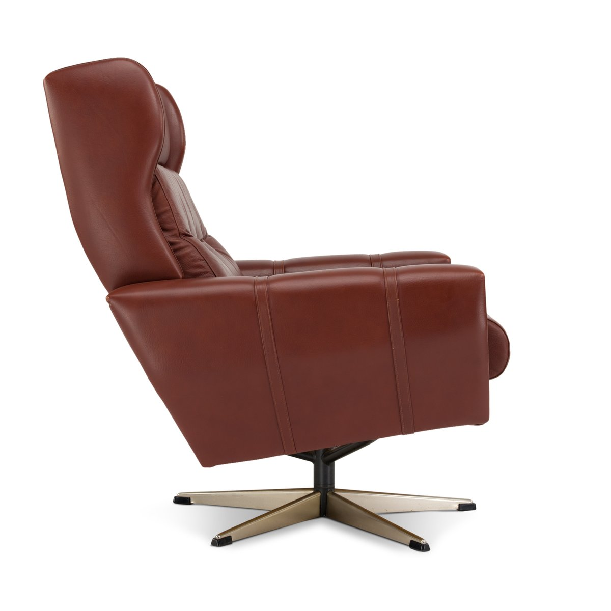 brown swivel chair office lounge and ottoman mid century danish in leather from lystager for price per piece