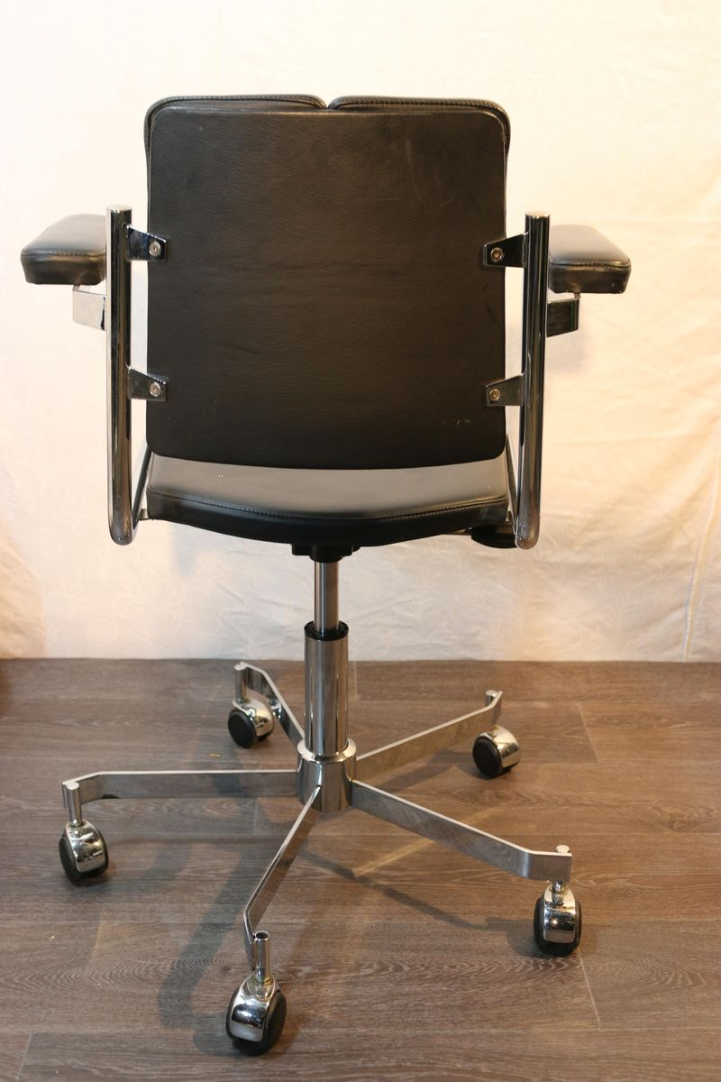 chair on wheels cover rentals delaware vintage leather aluminum swivel for sale at pamono