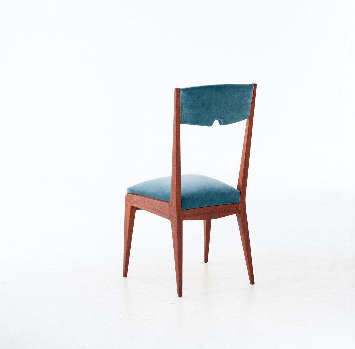 Light Blue Dining Chairs Mid Century Italian Light Blue Velvet And Mahogany Dining
