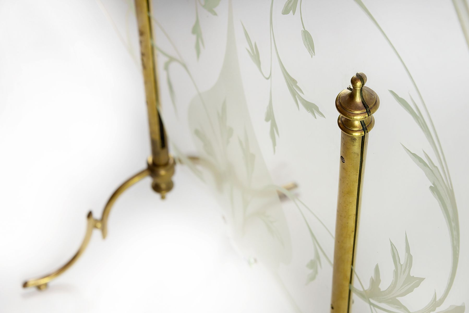 French Brass And Etched Glass Fireplace Screen 1930s For