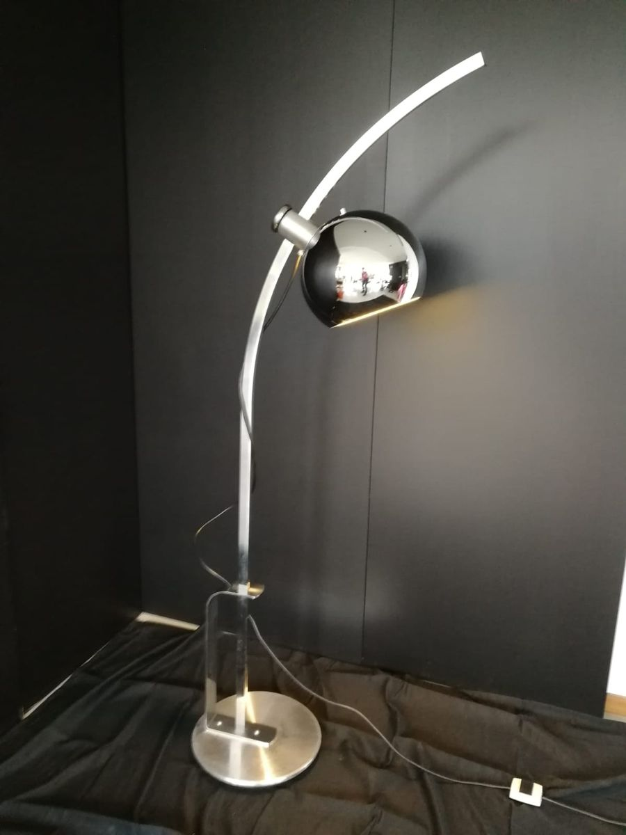 Arched Globe Floor Lamp in Chrome 1970s for sale at Pamono