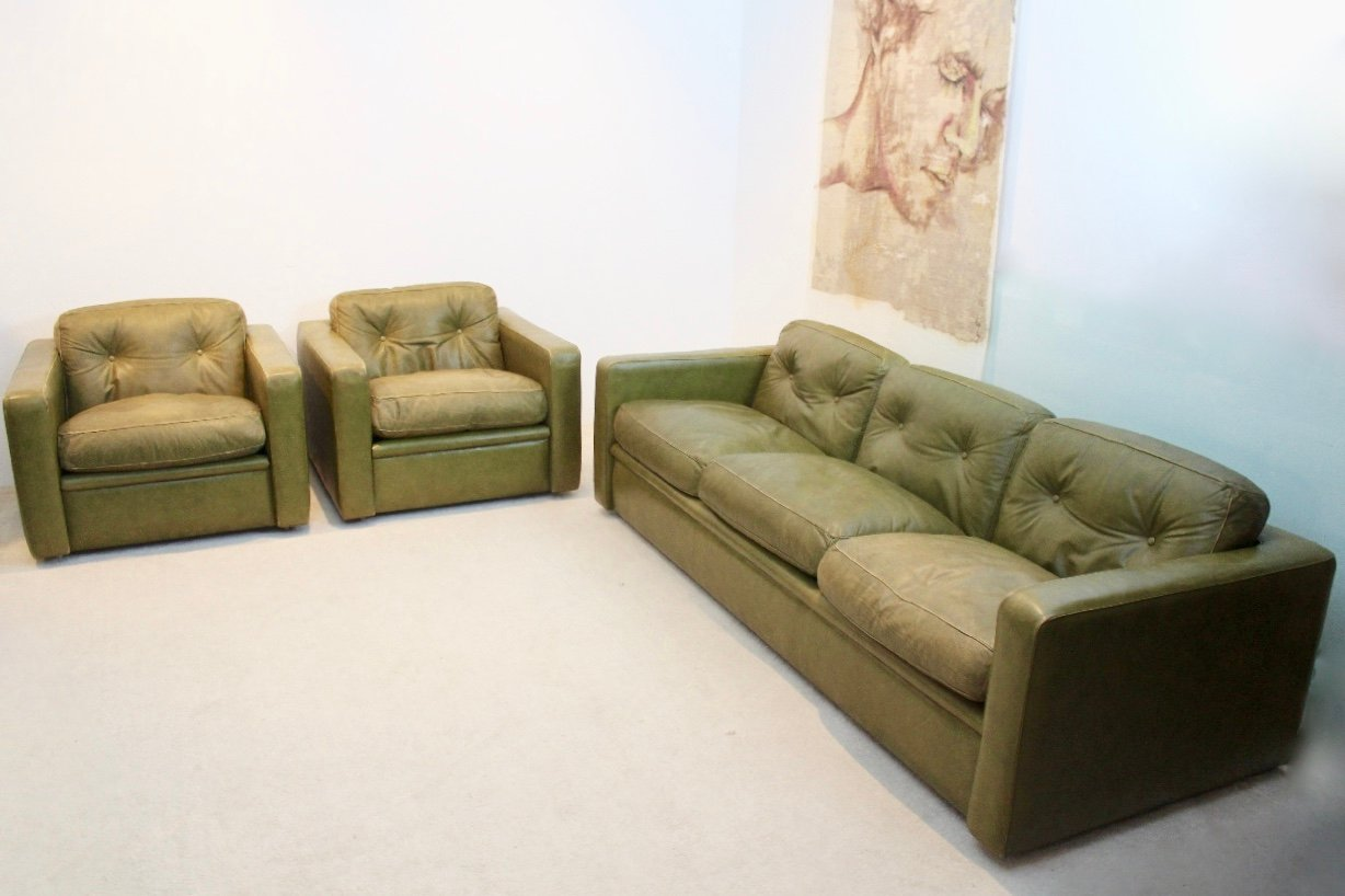 living room set leather decorating narrow with fireplace italian olive green from poltrona frau 1970s