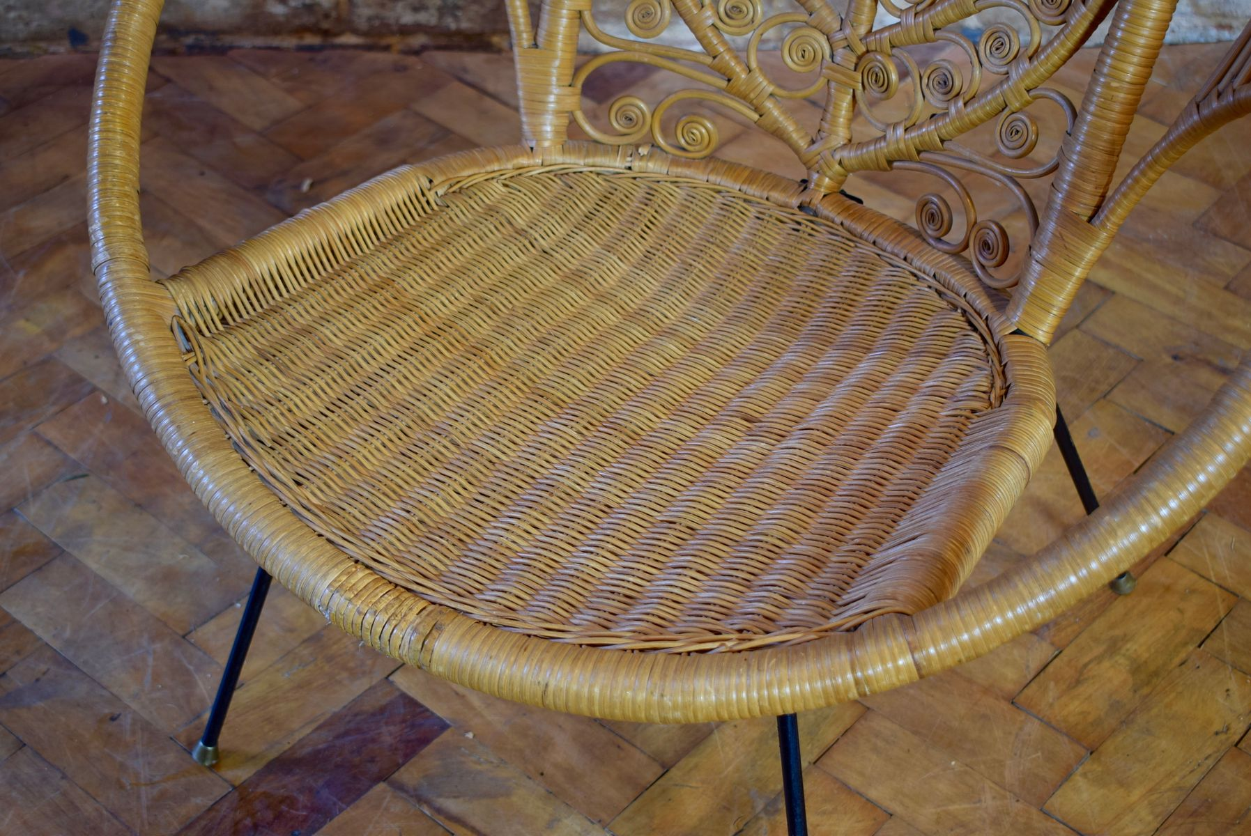 vintage peacock chair pottery barn cover cane wicker 1950s for sale at pamono
