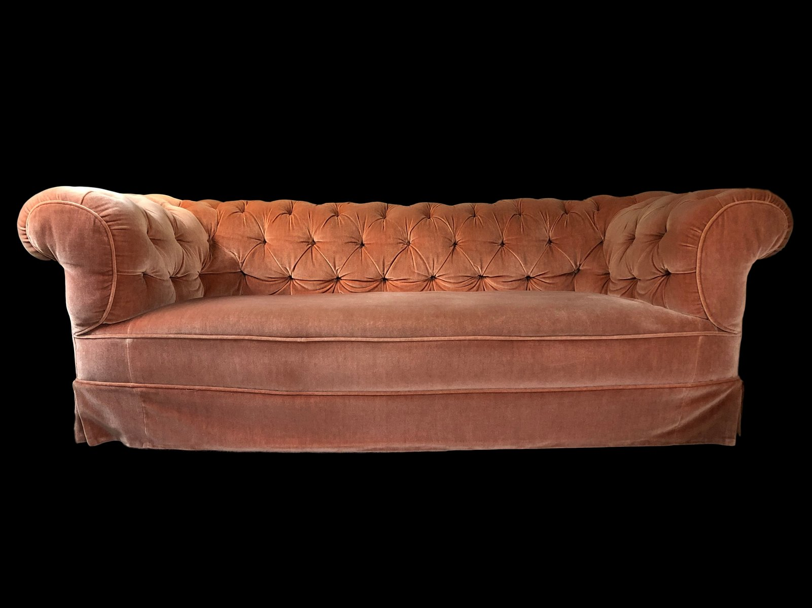 velvet chesterfield sofa prices black tufted sectional edwardian buttoned dust pink for