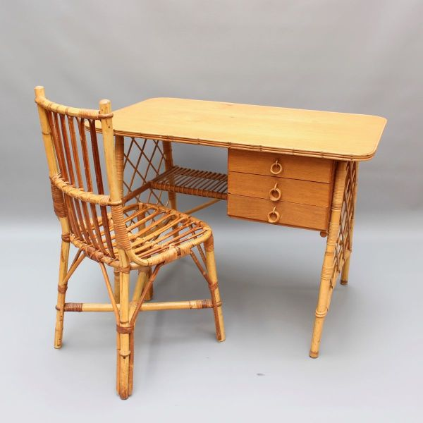 Rattan Desk Vanity Table And Chair Louis Sognot