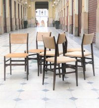 Dark Wood and Beige Upholstery Dining Chairs by Gio Ponti