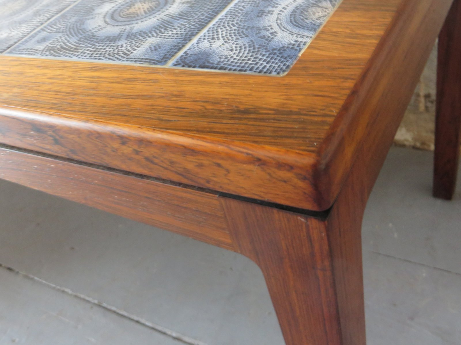 rosewood mosaic ceramic tile coffee table 1960s
