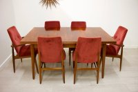Mid-Century Walnut Extendable Dining Table and Chairs Set ...