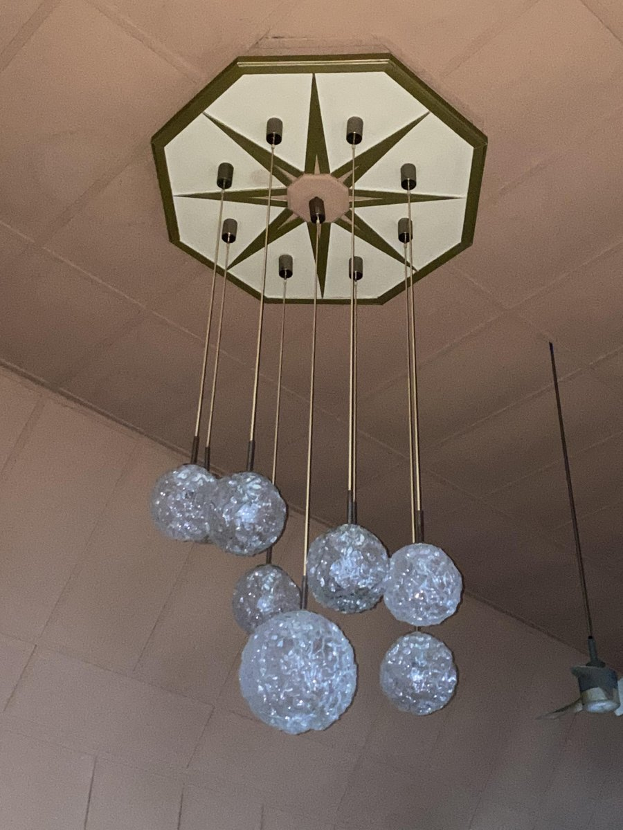 grosse mid century kaskadenlampe von hillebrand lighting