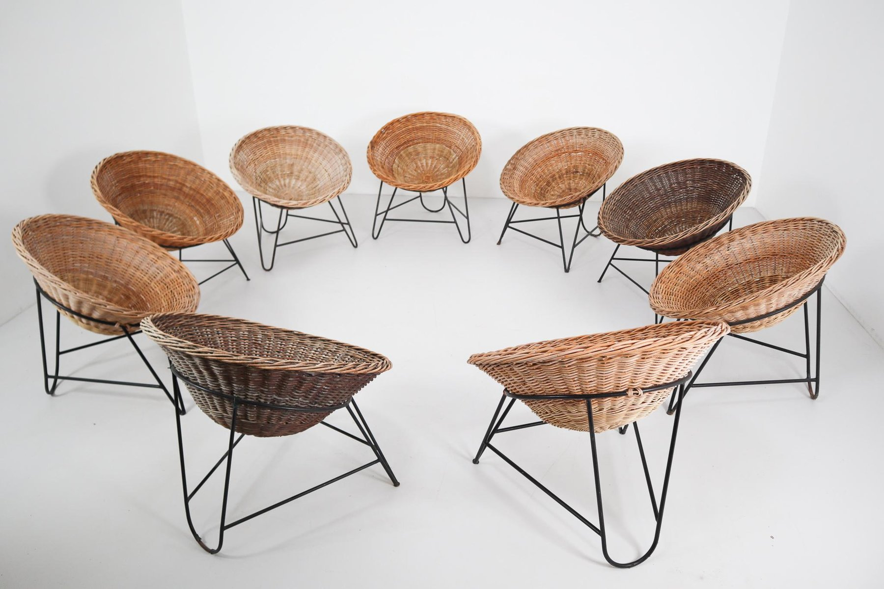 geflochtener mid century patio sessel 1960er