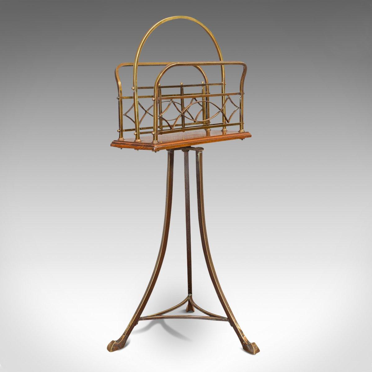 antique victorian french walnut and brass magazine rack