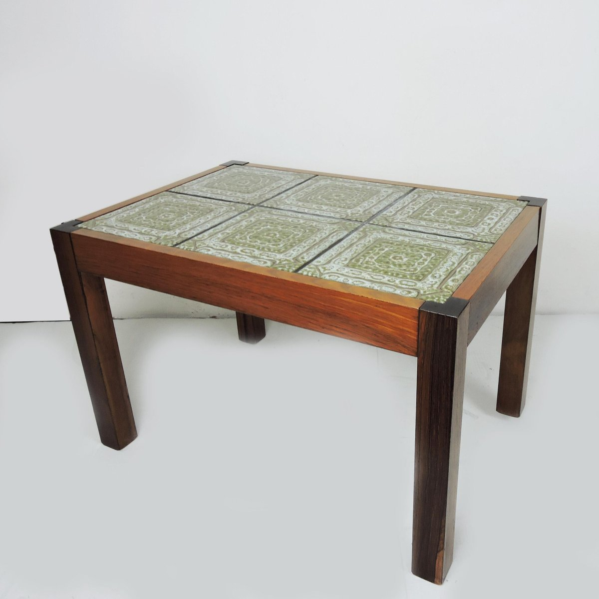 green tiled top coffee table with rosewood frame 1970s