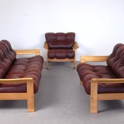Algarve Leather Sofa And Loveseat Set Bed Small Space Vintage Danish Brown 3 Piece For Sale At