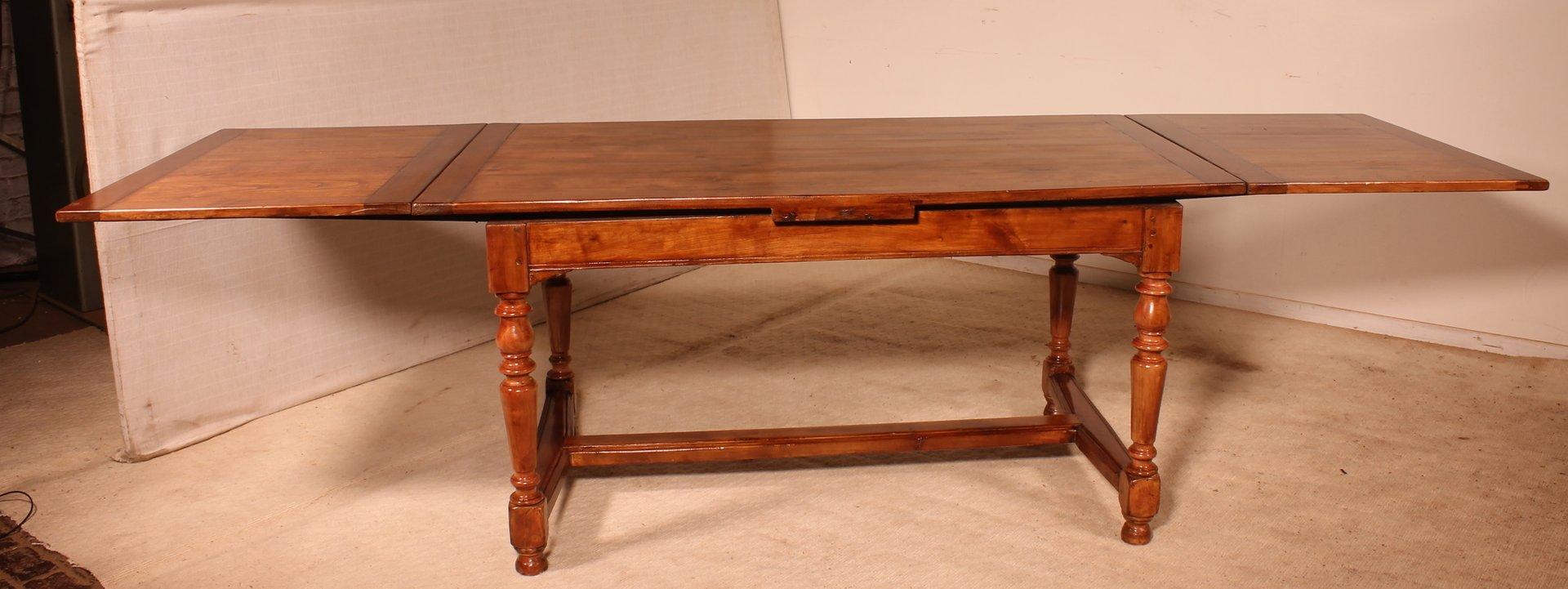 petite table de salle a manger a rallonge avec pieds tournes france 19eme siecle