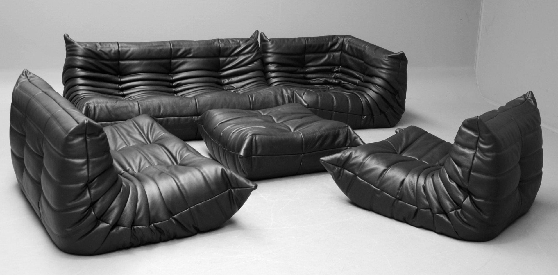 togo sofa price teal blue tufted vintage black leather set by michel ducaroy for