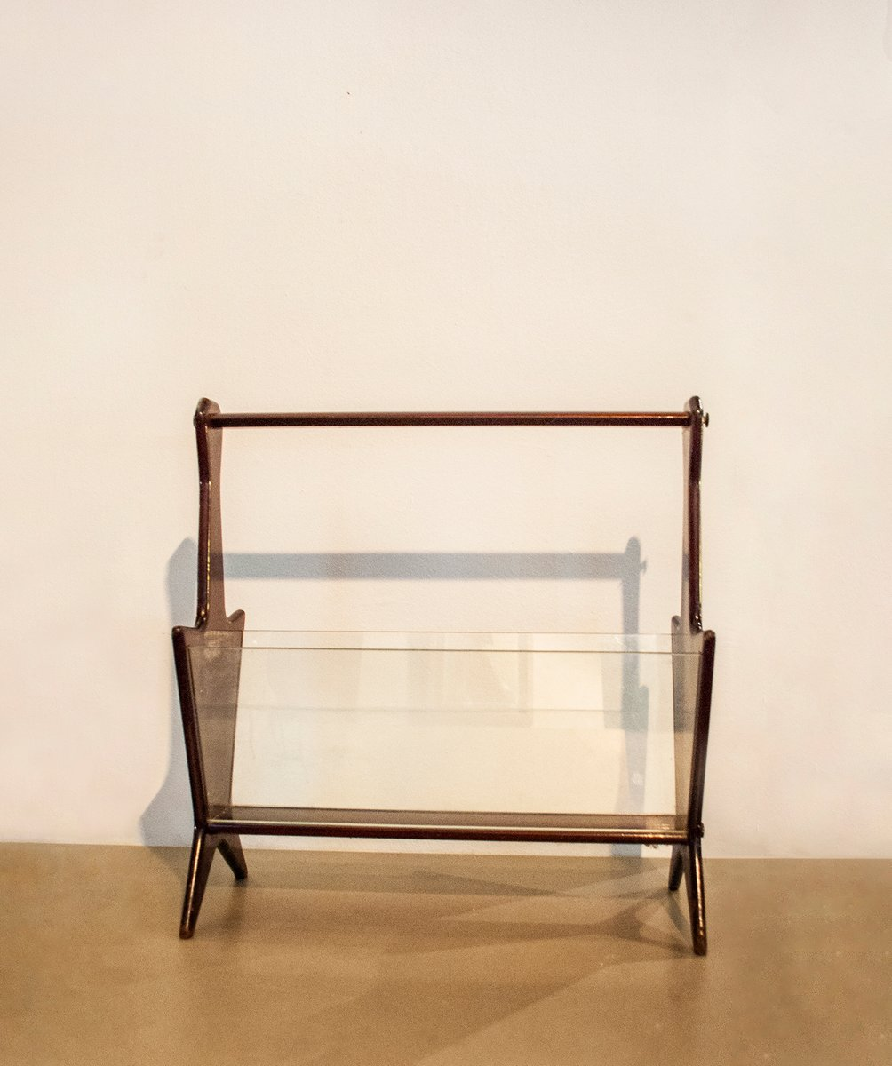 magazine rack with wooden frame glass by ico parisi 1960s