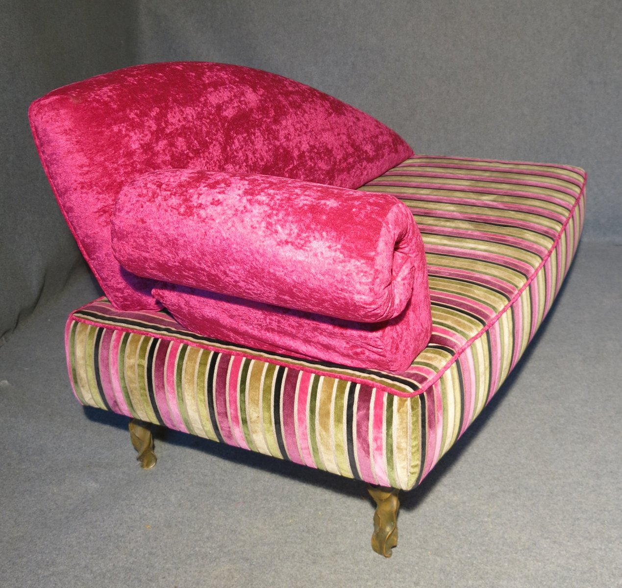 pink chaise lounge chair french bistro dining italian art deco velvet 1940s for sale