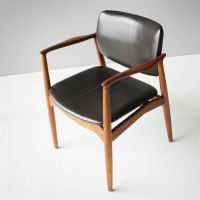 Teak and Leather Captain's Chair by Eric Buck for  ...
