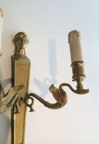 French Bronze Wall Sconces, Set of 2 for sale at Pamono