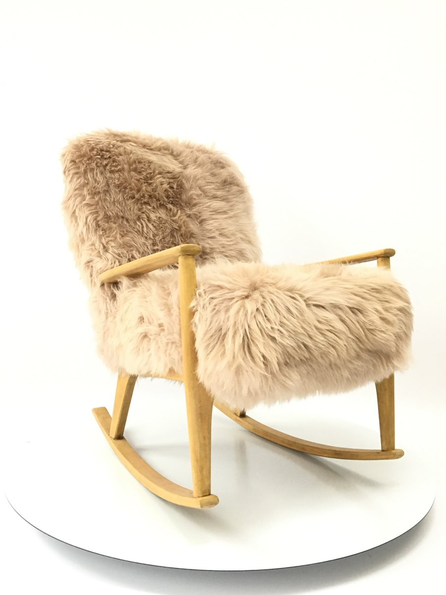 Vintage Sheepskin Bentwood Rocking Chair from Parker Knoll