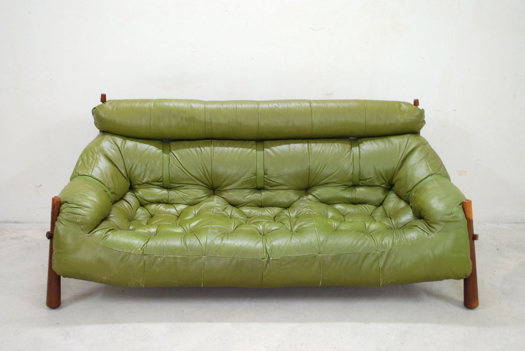 percival lafer sofa micro suede slipcover green lounge from for sale at pamono