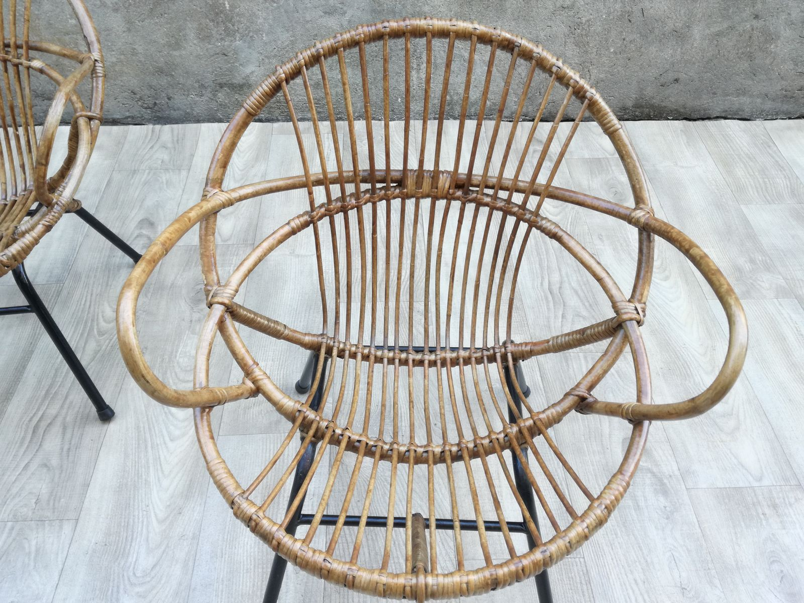 MidCentury Rattan Armchairs Set of 2 for sale at Pamono