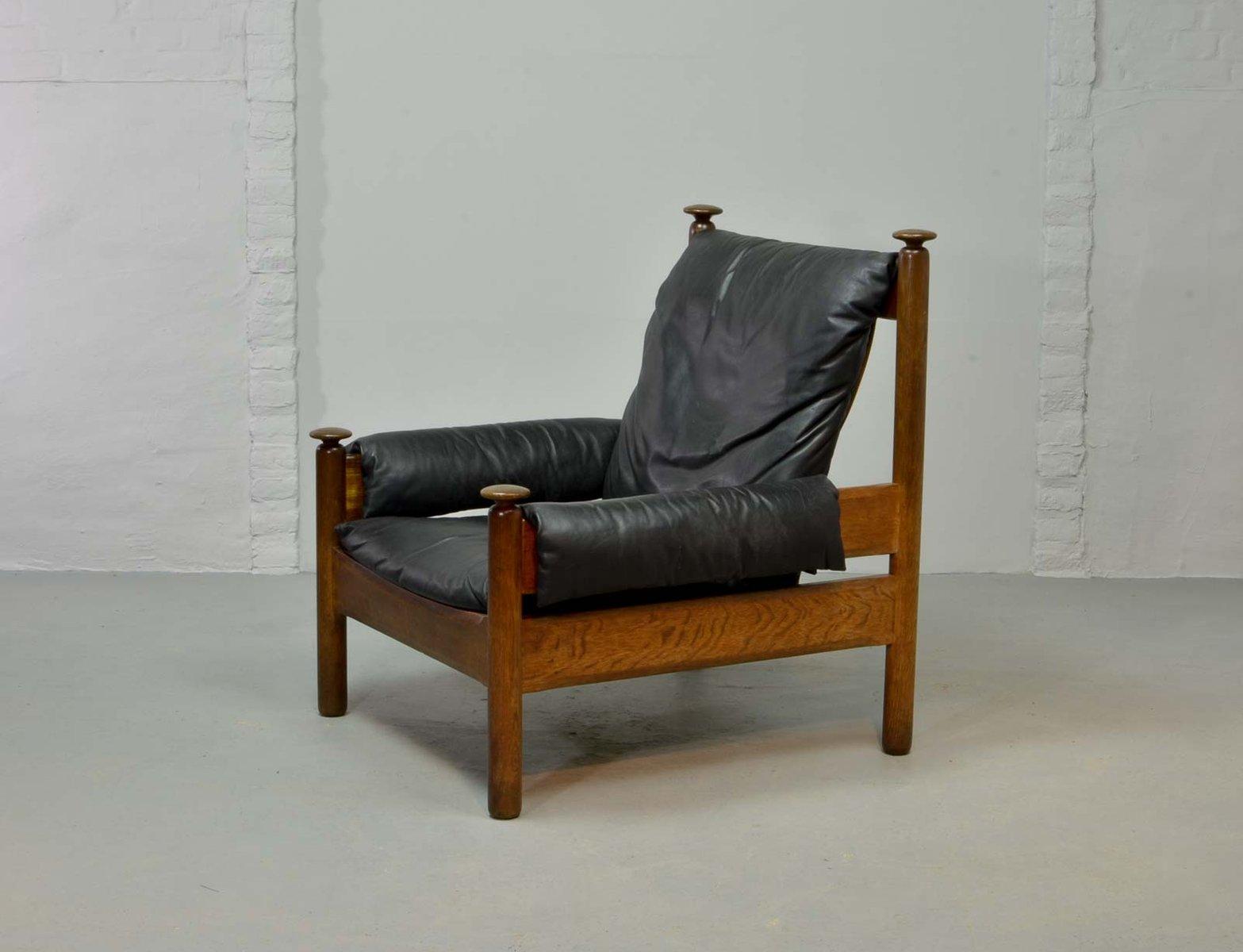 Black Leather Scandinavian Lounge Chair, 1960s en vente