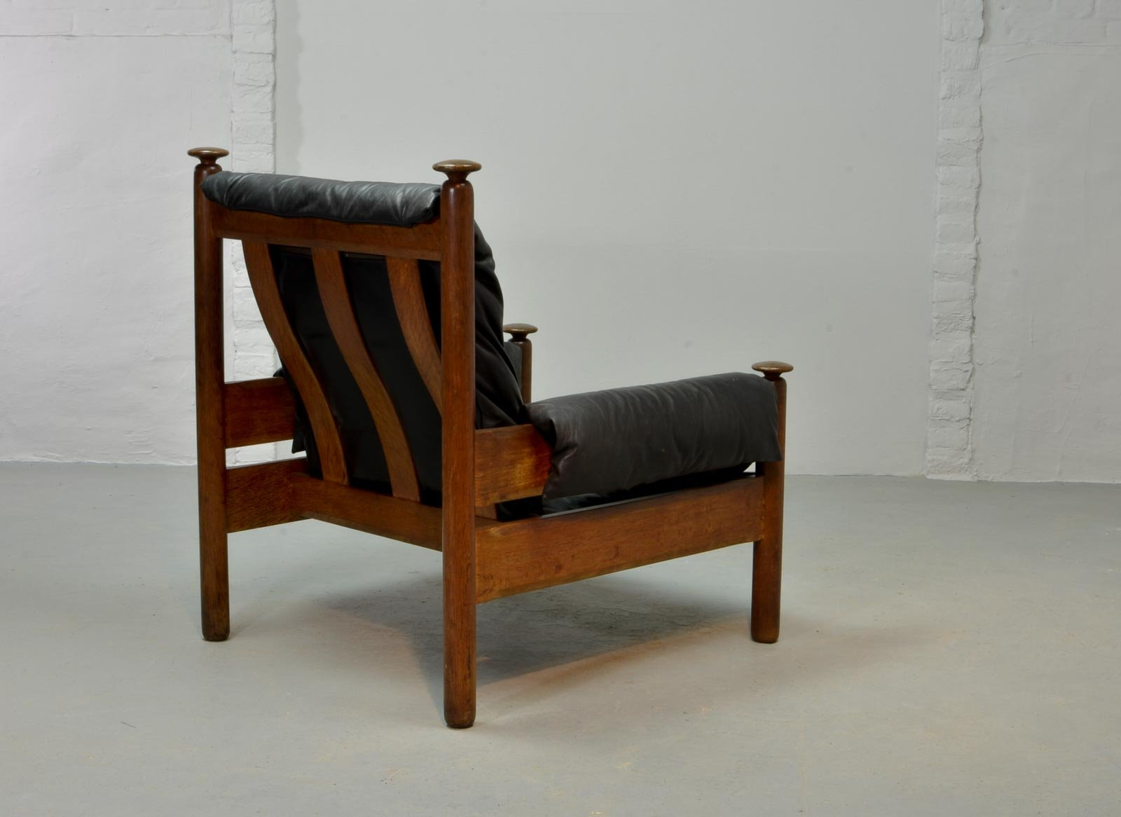 Black Leather Scandinavian Lounge Chair, 1960s for sale at