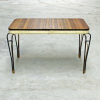 Mid-Century Formica and Vinyl Table with Wrought Iron Legs ...