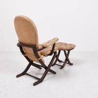 Mid-Century Tufted Leatherette Easy Chair with Ottoman for ...