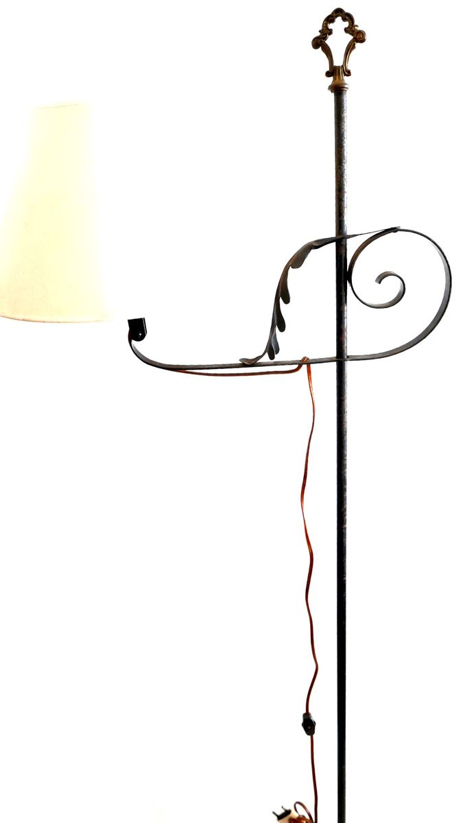 Vintage Wrought Iron Floor Lamp with 3 Legs, 1960s for