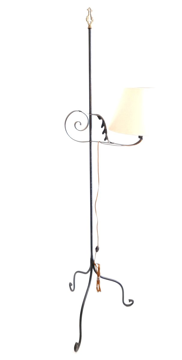 Vintage Wrought Iron Floor Lamp, 1960s for sale at Pamono