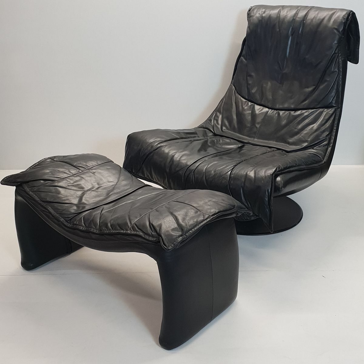 black leather swivel lounge chair fat boy large vintage with