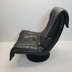 Black Leather Swivel Lounge Chair Extreme Rocker Gaming Large Vintage With