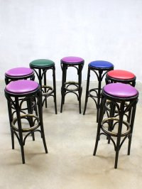 Vintage French Red Bar Stool for sale at Pamono
