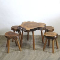 Mid-Century Wooden Table and Four Stools, Set of 5 for ...