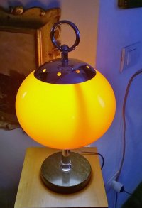 Orange Table Lamp with Black Marble Base, 1950s for sale ...