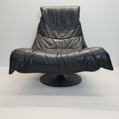 Black Leather Lounge Chair With Ottoman Evenflo Majestic High Manual Large Vintage Swivel