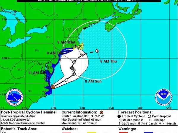 Tropical Storm Hermine: Tropical Storm Watch Issued for Parts of Mass., R.I.