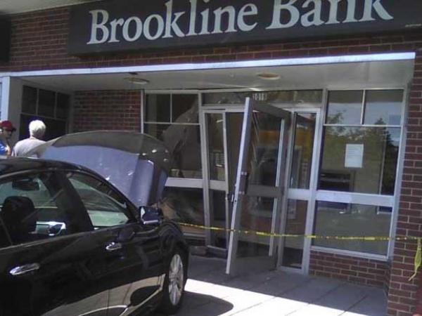 Car Collides With Brookline Bank