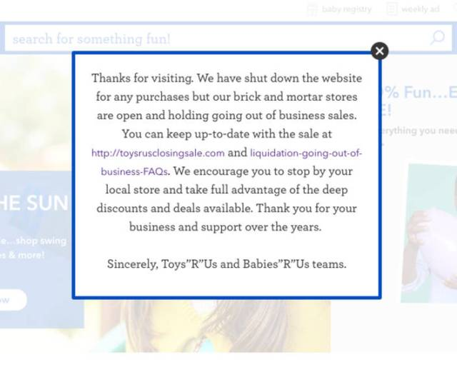 Toys R Us Babies R Us Websites Shut Down
