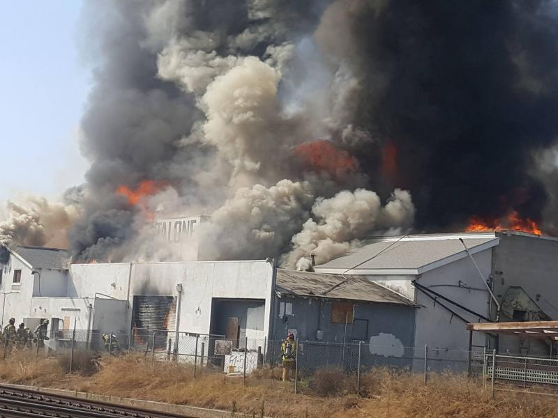 Escondido Fire Abandoned Meat Market Burns Sending Smoke