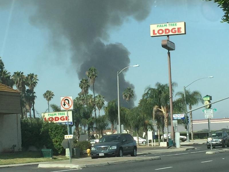 Escondido Fire Abandoned Meat Market Burns Sending Smoke