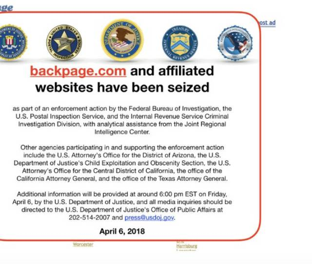 Backpage Com Shut Down As Federal Government Makes Moves
