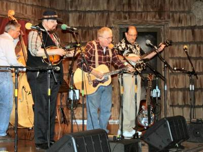 men performing traditional bluegrass music